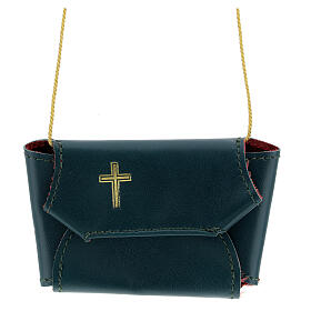 Communion set case with cross and purifier green leather s1