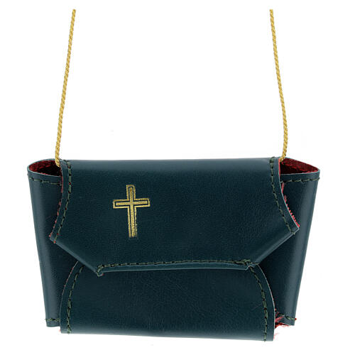 Communion set case with cross and purifier green leather 1