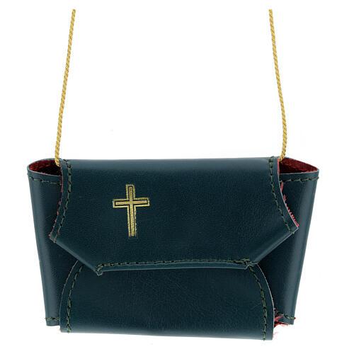 Astuccio set comunione con croce e purifichino pelle verde 1