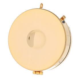 Teca ostie placca eucarestia argentata ottone dorato 3x10 cm s3
