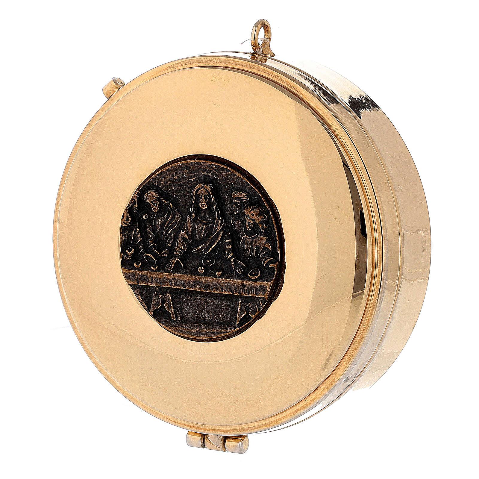 Teca Eucaristica Ultima Cena placca bronzo antico 3x10 cm 3