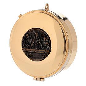 Teca Eucaristica Ultima Cena placca bronzo antico 3x10 cm s1
