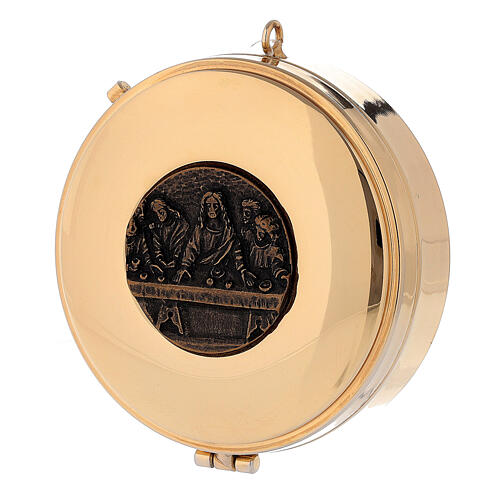 Teca Eucaristica Ultima Cena placca bronzo antico 3x10 cm 1