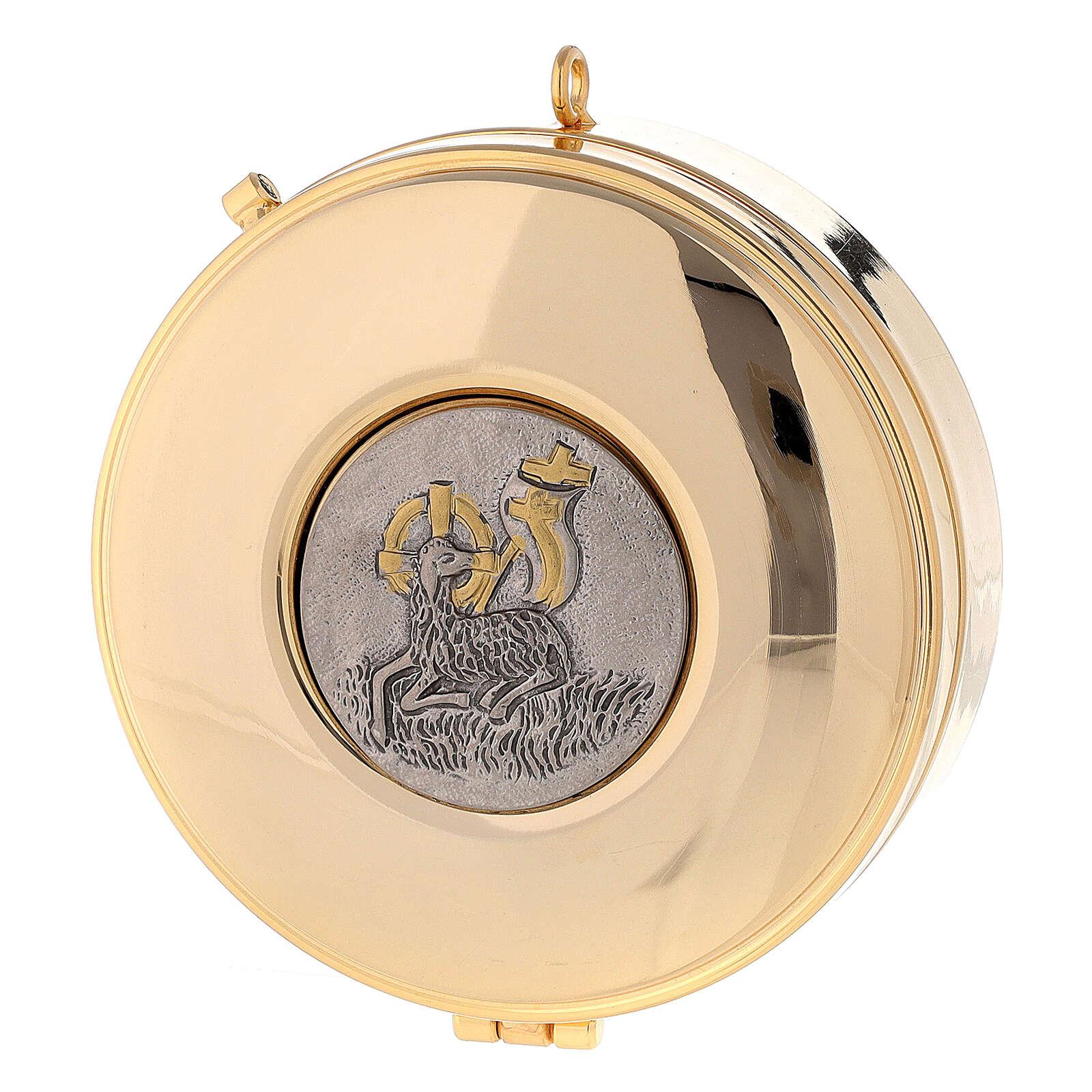 Teca Eucaristica con Agnello della Pace ottone oro argento 3x10 cm 3