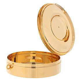 Teca Eucaristica con Agnello della Pace ottone oro argento 3x10 cm s2