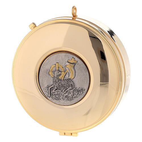 Teca Eucaristica con Agnello della Pace ottone oro argento 3x10 cm 1