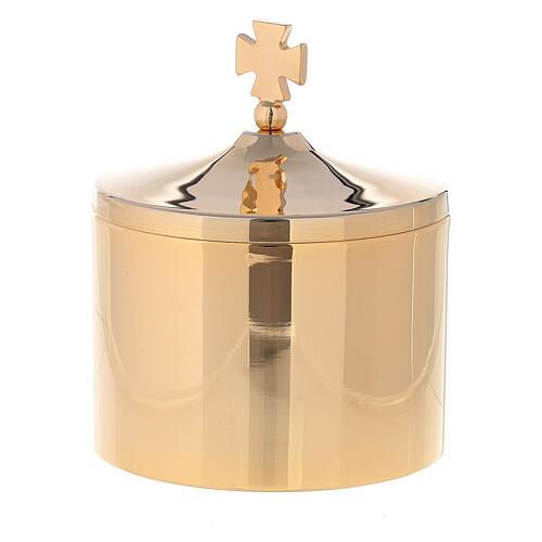 Porta ostie in ottone dorato 24k croce incisa 10x5 cm 1