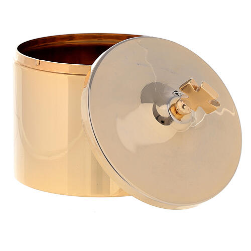 Porta ostie in ottone dorato 24k croce incisa 10x5 cm 2