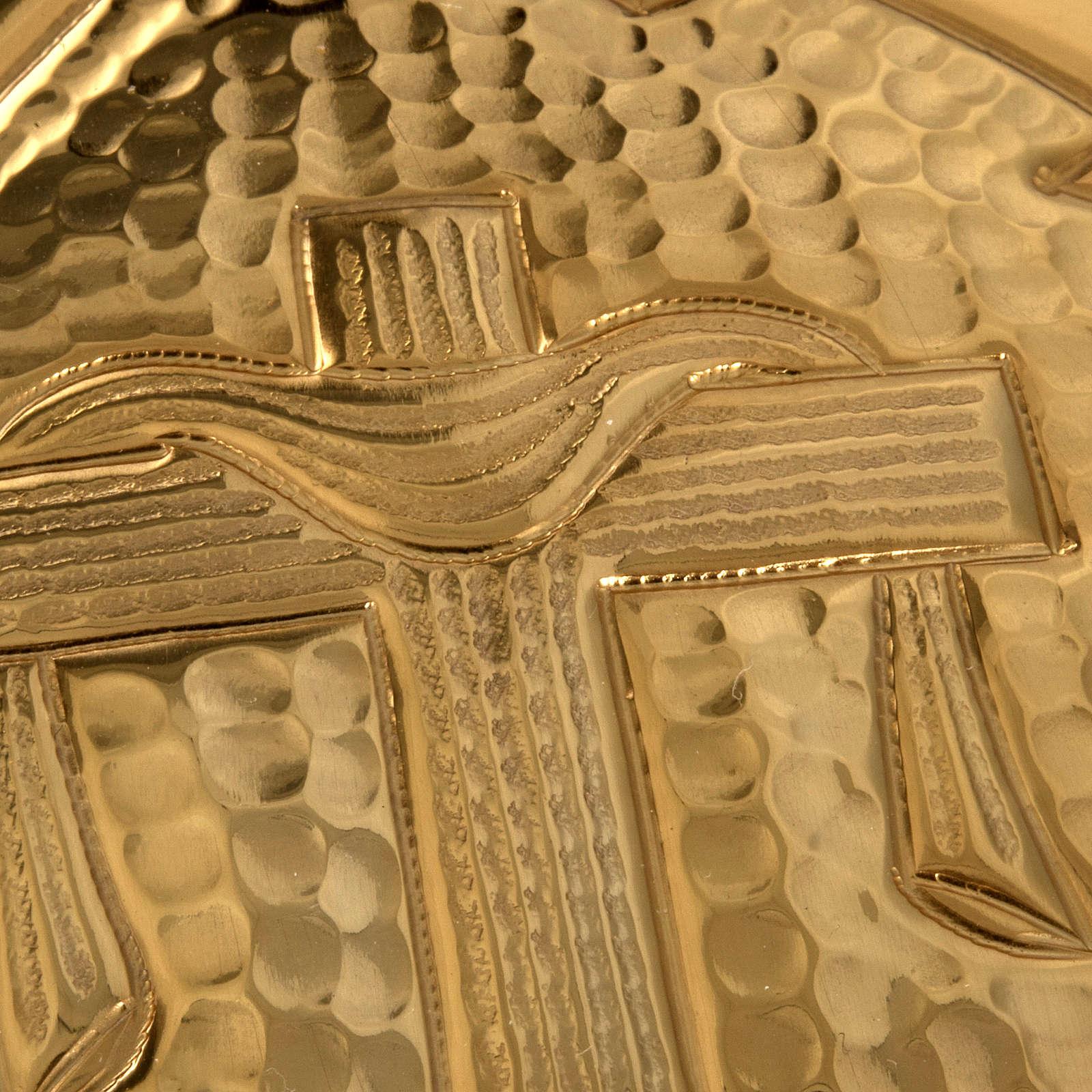 Teca ostia magna ottone dorato croce alfa omega 3