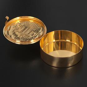 Teca ostia magna ottone dorato croce alfa omega s4