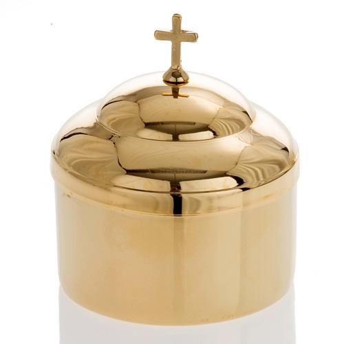 Boîte porte hosties laiton doré lucide 1