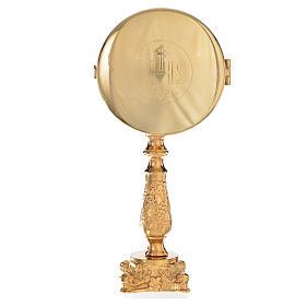 Ostensoirs, Reliquaires  en métal: Custode à hostie sur base avec lunule IHS h 21,5 cm