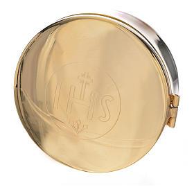 Custodias (ostensorios), Relicarios metal: Caja de formas latón diám. 9,5 cm
