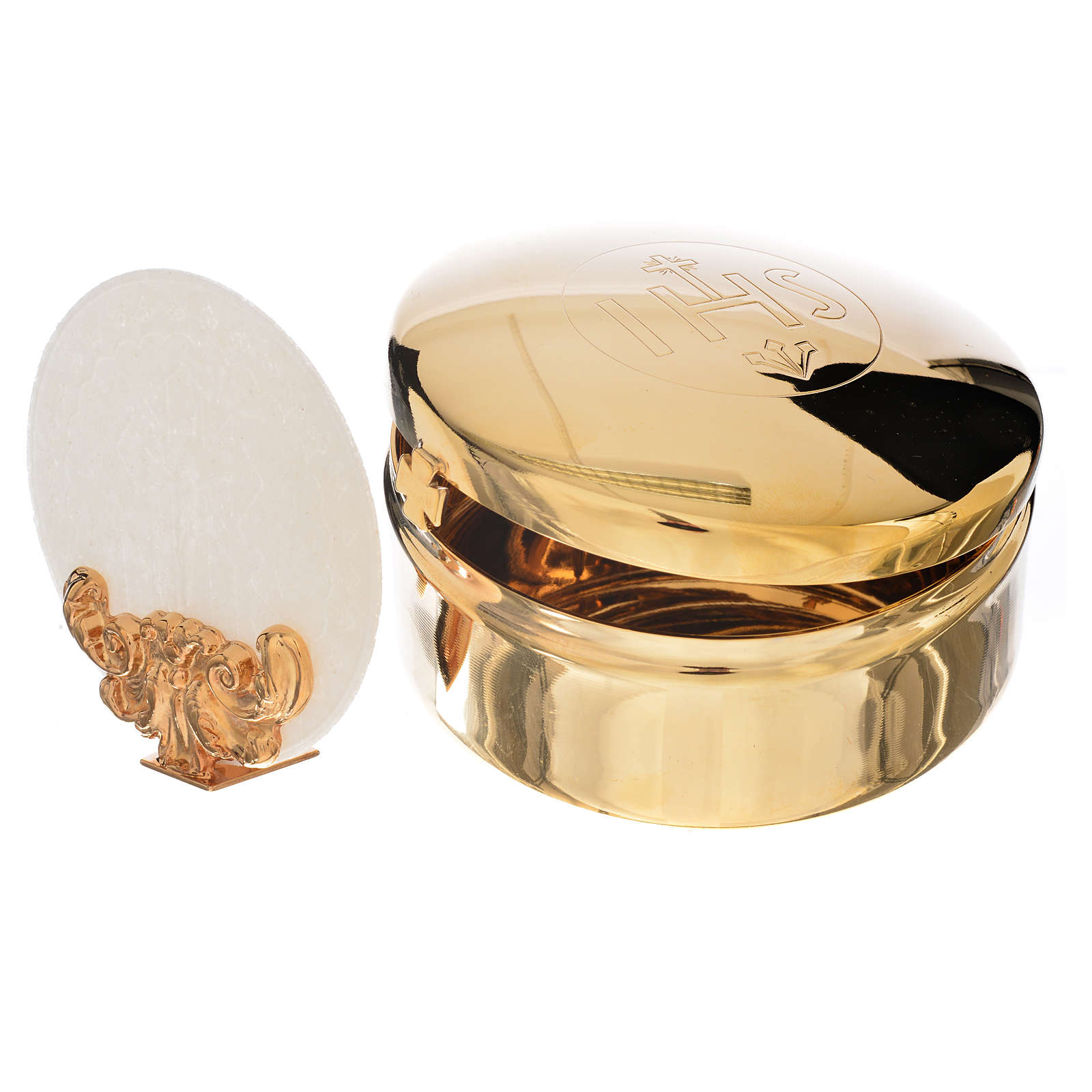 Host box in brass, 9.5cm diameter 4