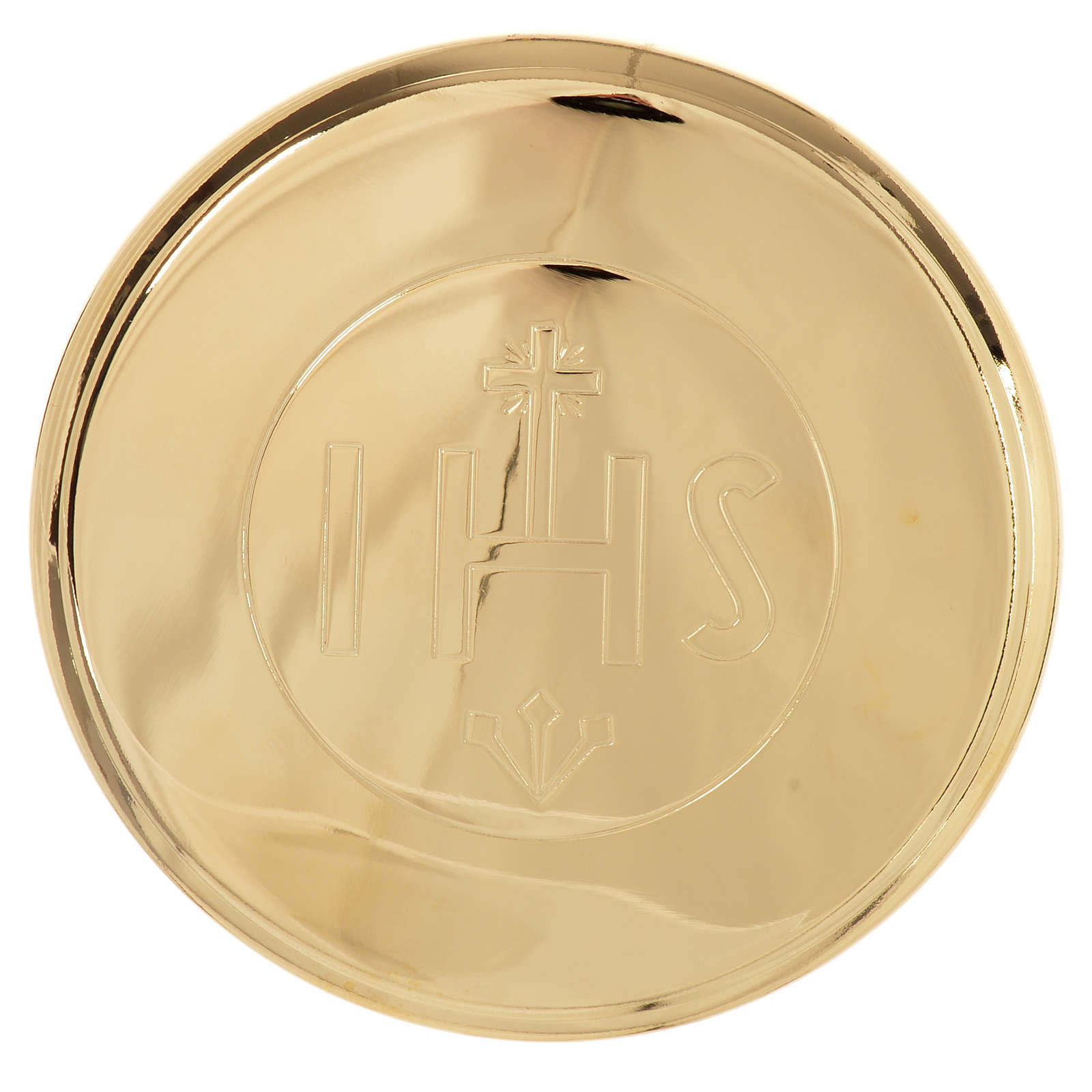 Golden brass pyx with IHS engraving, 7cm diameter 3