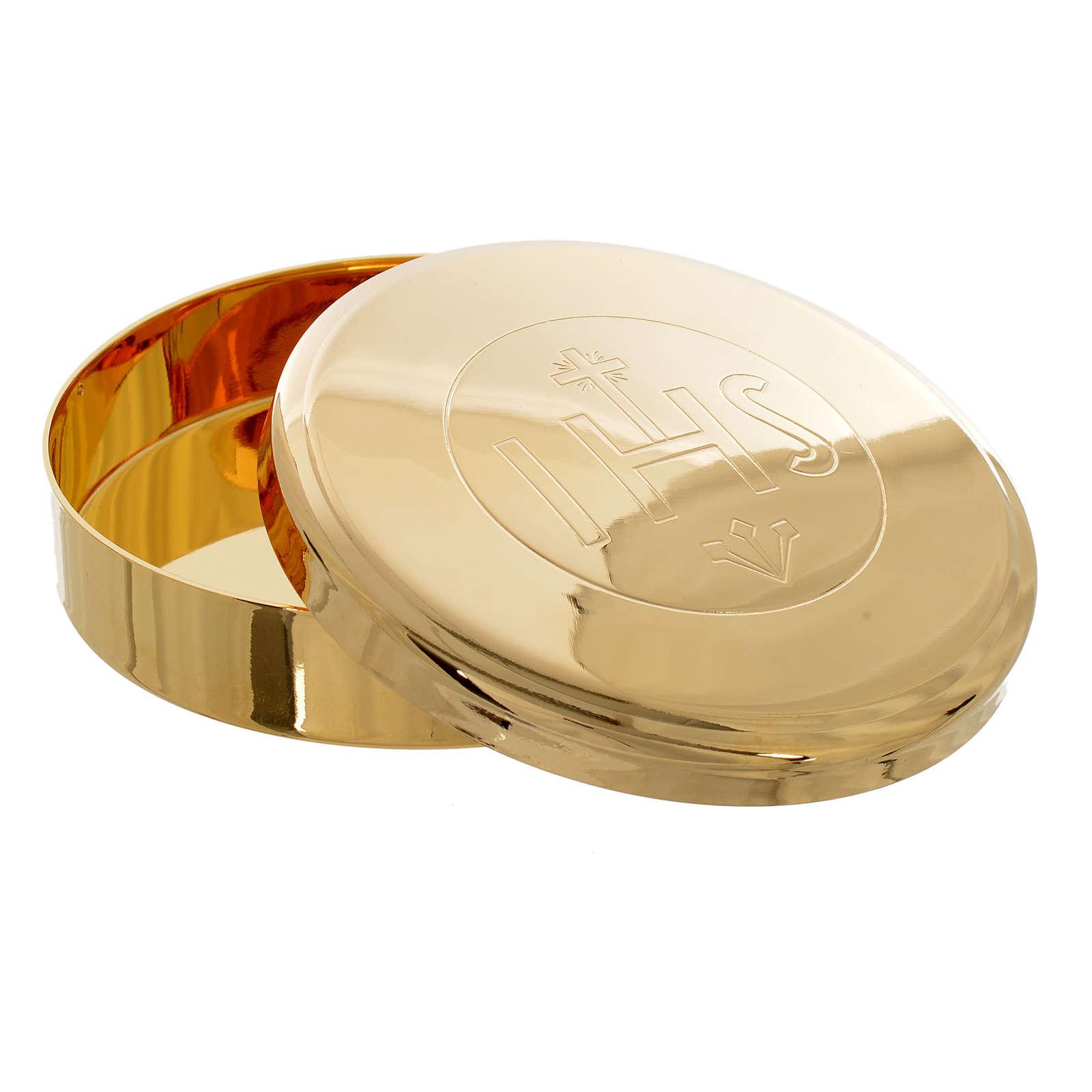 Caja para Hostia  Latón dorado IHS diam 7 cm 3