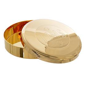 Caja para Hostia  Latón dorado IHS diam 7 cm s2