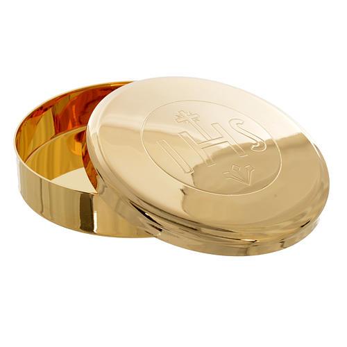Caja para Hostia  Latón dorado IHS diam 7 cm 2