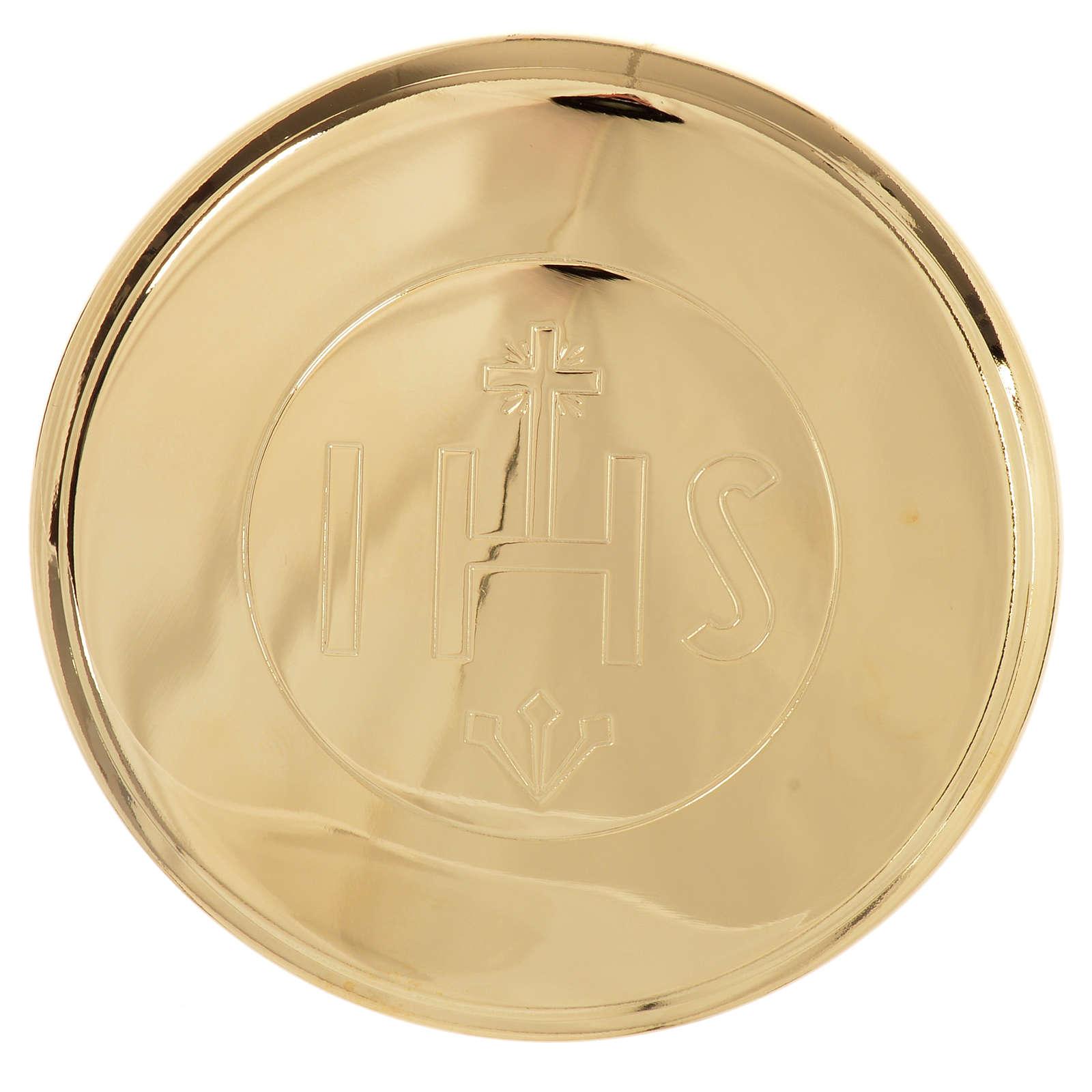 Custode hostie laiton doré IHS diamètre 7 cm 3