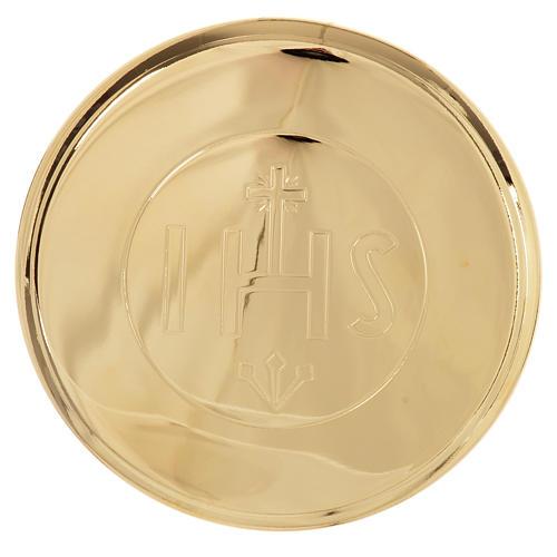 Custode hostie laiton doré IHS diamètre 7 cm 1