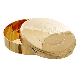 Golden brass pyx with IHS engraving, 7cm diameter s2