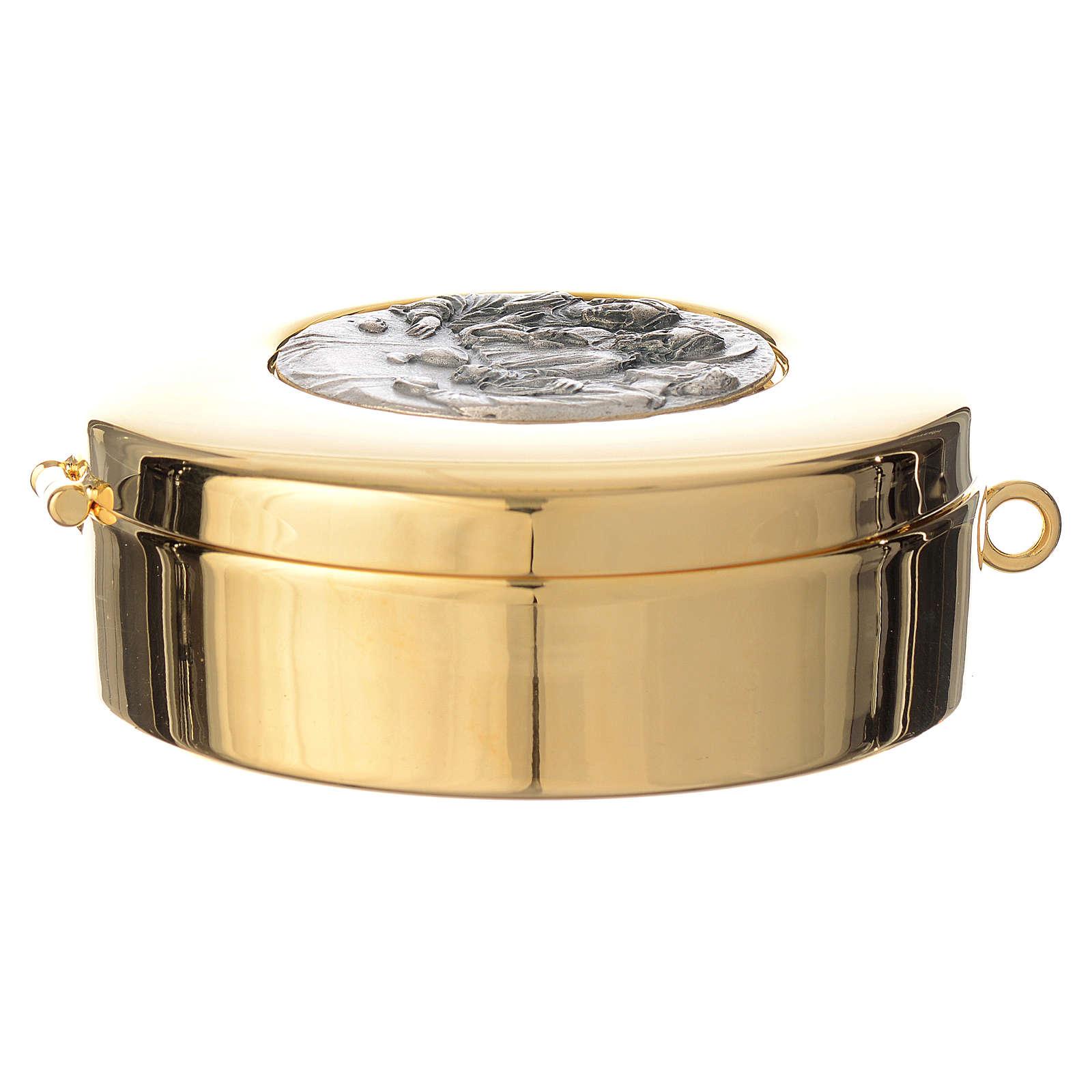 Teca diametro cm 8 con medaglia peltro Ultima Cena 3