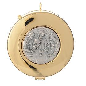 Teca diametro cm 8 con medaglia peltro Ultima Cena s1