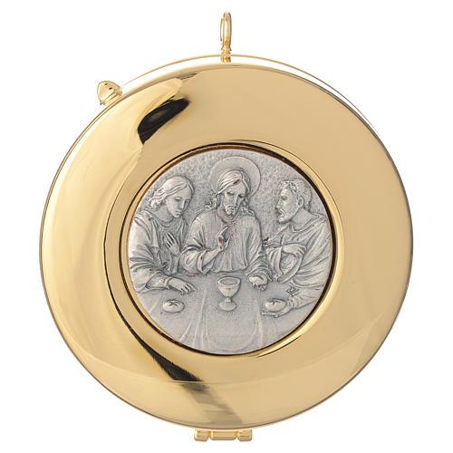 Teca diametro cm 8 con medaglia peltro Ultima Cena 1