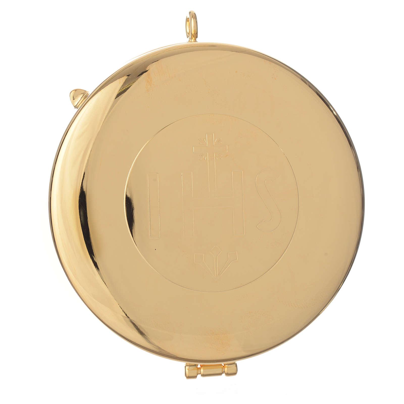 Teca ottone dorato incisione IHS diam cm 7.7 3
