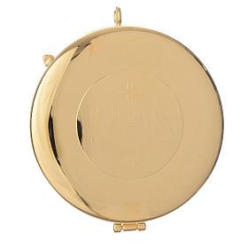 Teca ottone dorato incisione IHS diam cm 7.7 s1
