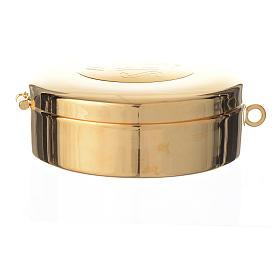 Teca ottone dorato incisione IHS diam cm 7.7 s6