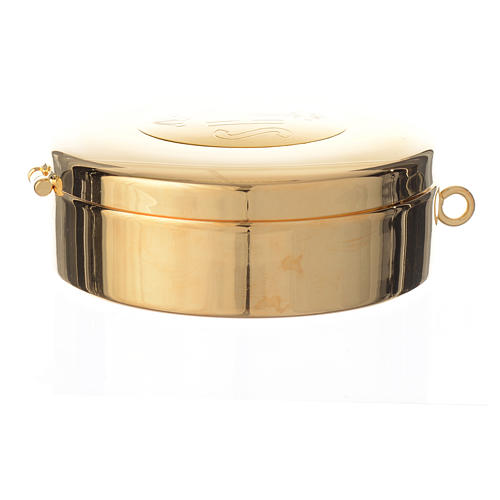Teca ottone dorato incisione IHS diam cm 7.7 5