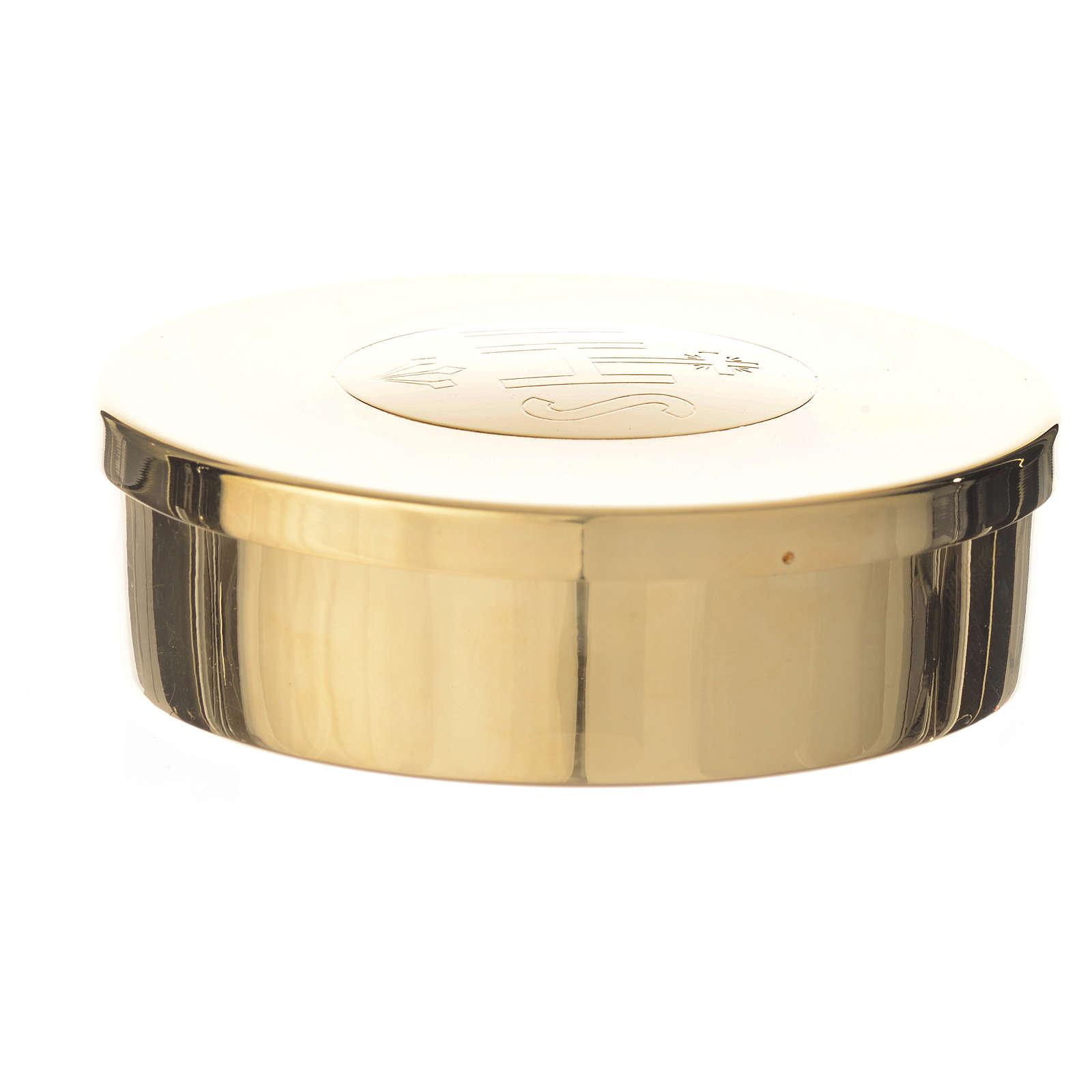 Caixa hóstias dourada latão gravura IHS 9 cm diâmetro 3