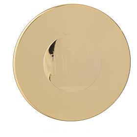 Caixa hóstias dourada latão gravura IHS 9 cm diâmetro s1