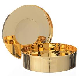Caixa hóstias dourada latão gravura IHS 9 cm diâmetro s2