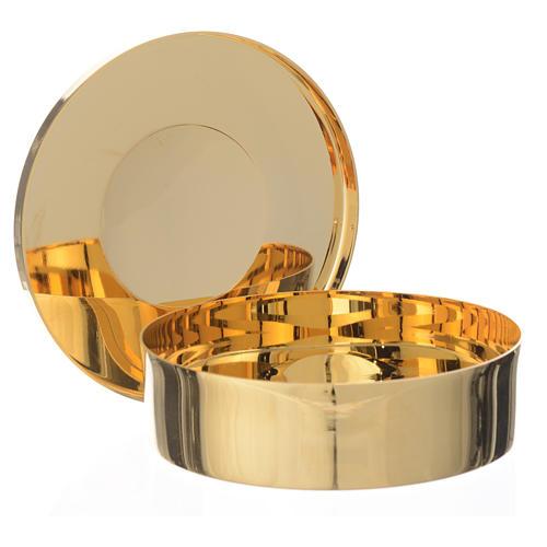 Caixa hóstias dourada latão gravura IHS 9 cm diâmetro 2