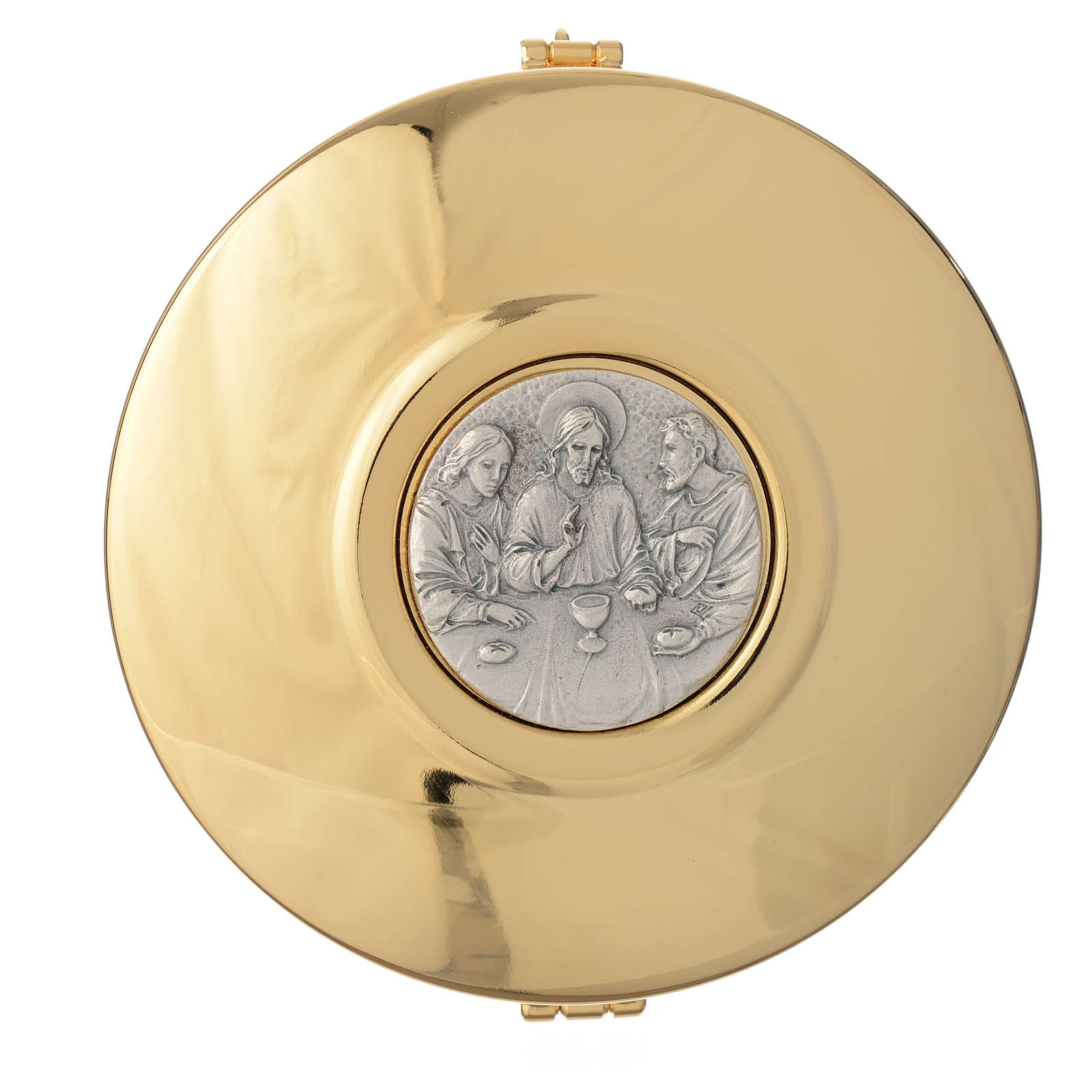 Pyx in brass pewter relief Last Supper 11cm 3