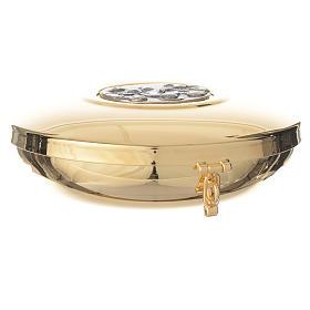 Caixa de hóstia latão medalhão peltre Última Ceia 11 cm s3