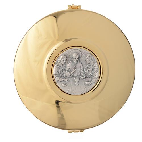 Caixa de hóstia latão medalhão peltre Última Ceia 11 cm 1