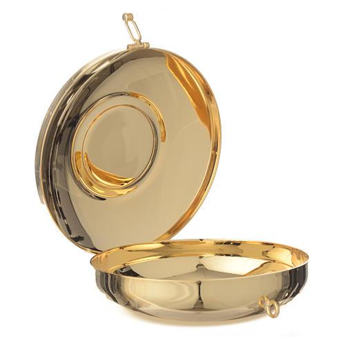 Caixa de hóstia latão medalhão peltre Última Ceia 11 cm 2
