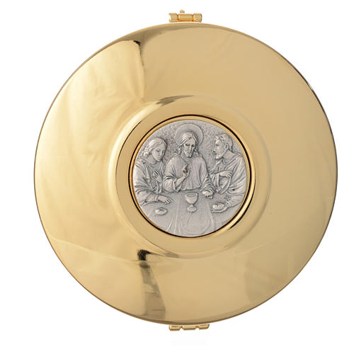 Pyx in brass pewter relief Last Supper 11cm 1