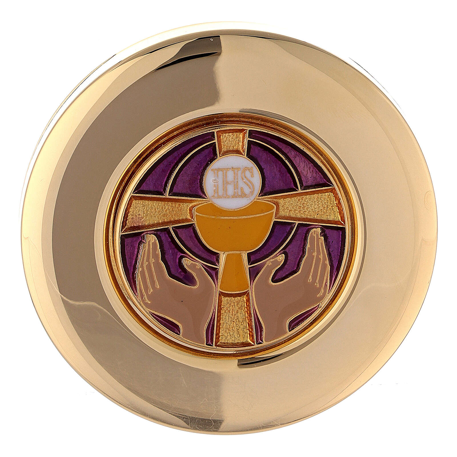 Pyx for big hosts with enameled IHS symbol 3