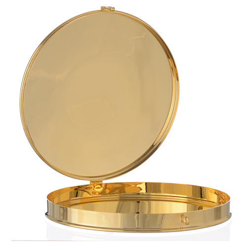 Pyx for big host in gold plated brass 21.5cm 2