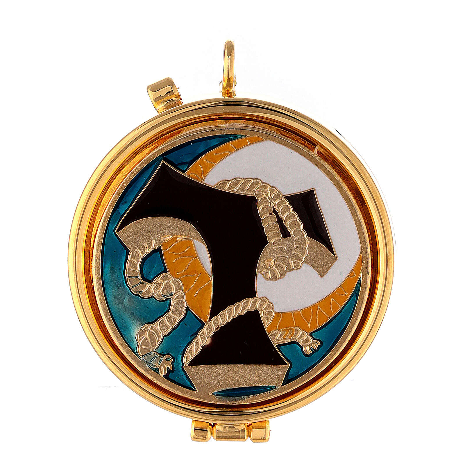 Pyx with Tau and cord enamel decoration on the cover 3