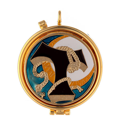 Pyx with Tau and cord enamel decoration on the cover 1