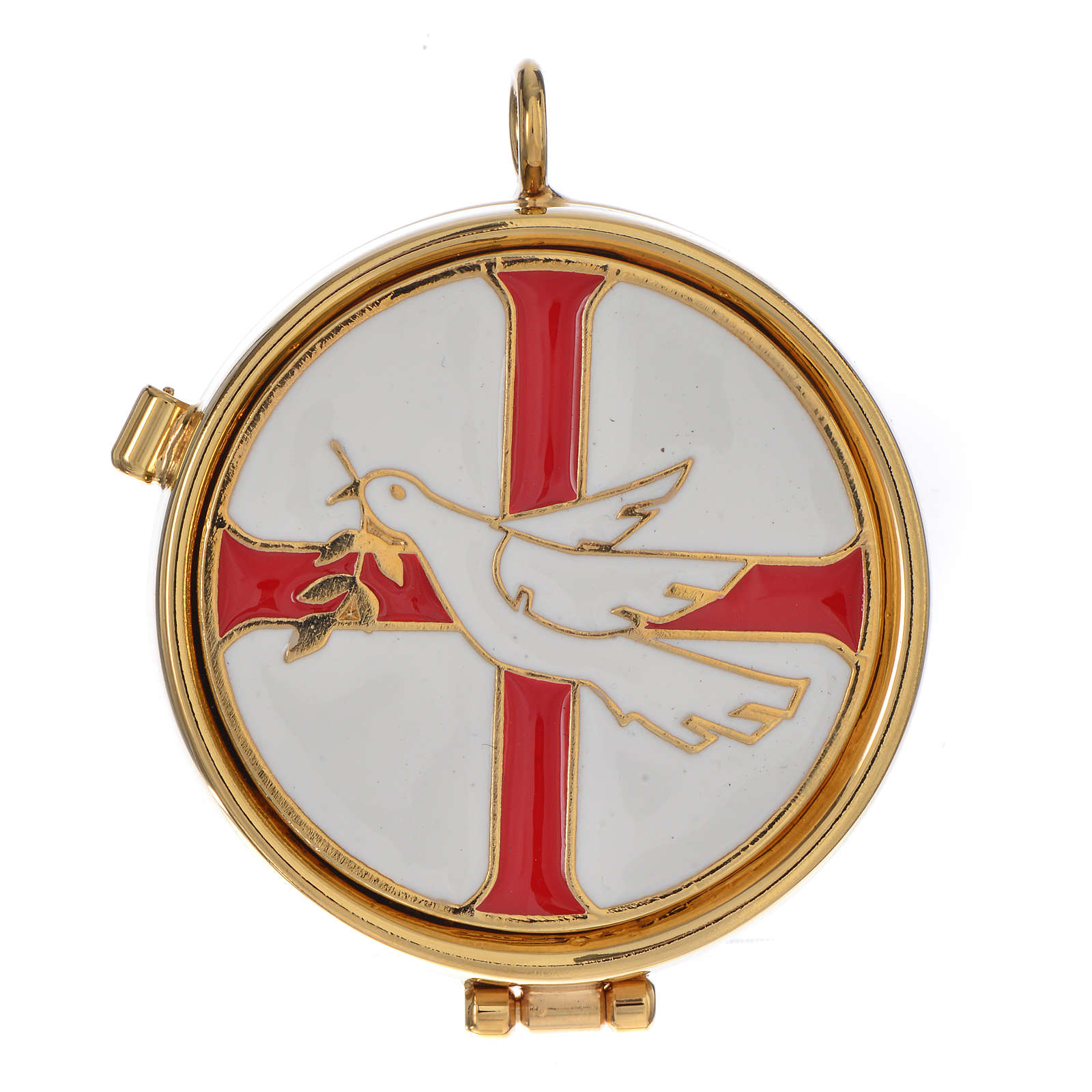 Pyx with enamel, dove and olive tree 53mm 3