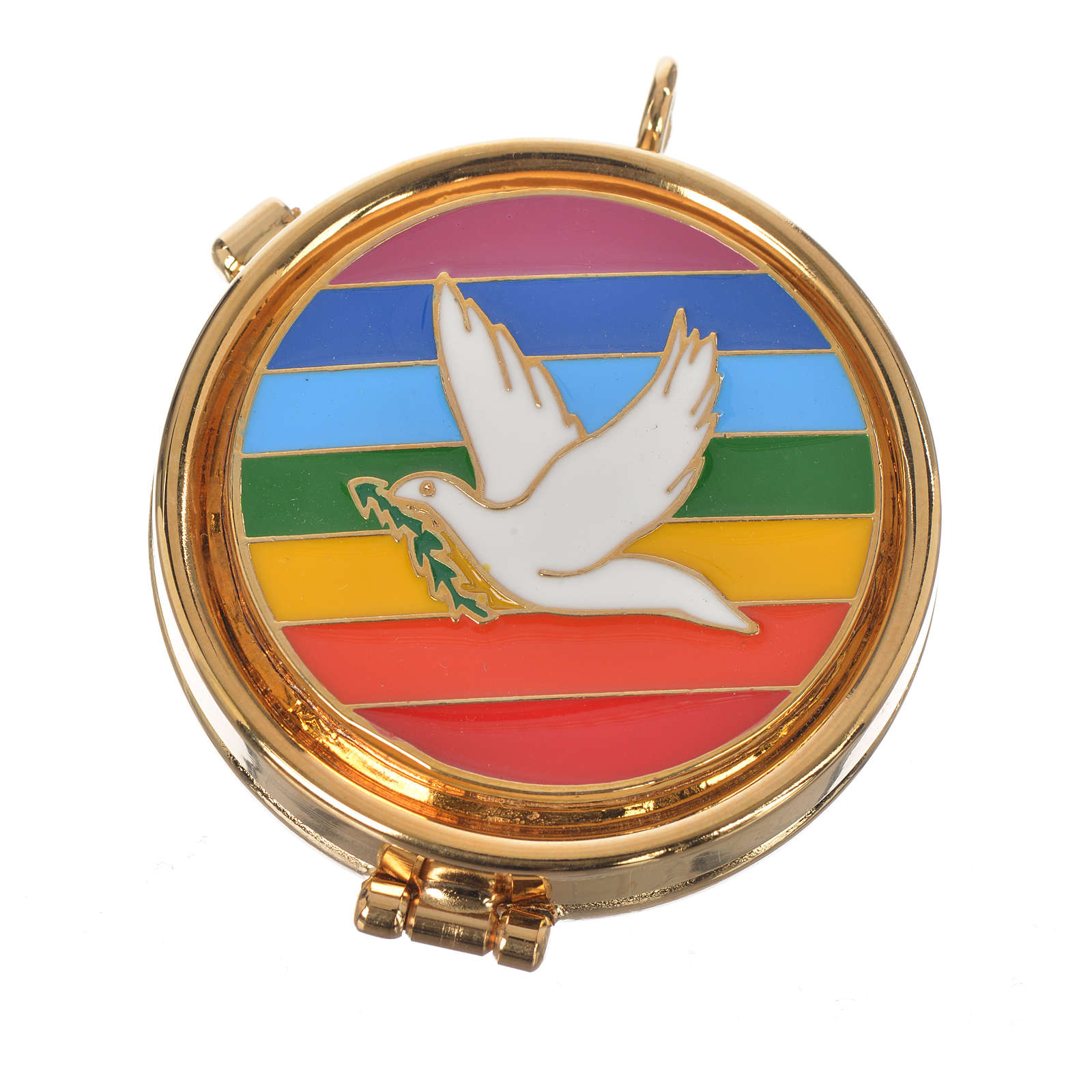 Pyx with enamelled dove plaque 5.3cm diameter 3