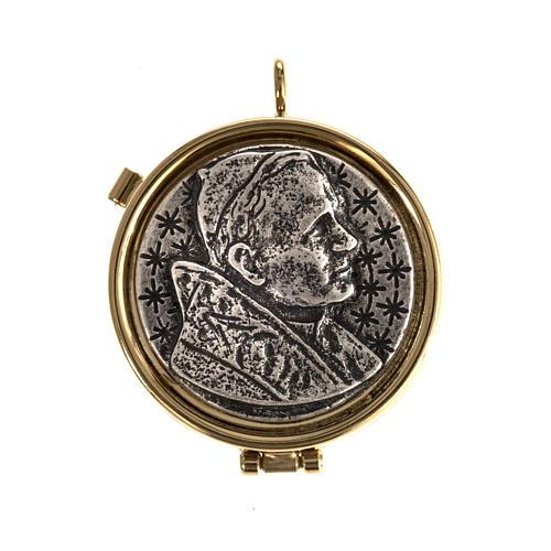 Teca eucaristica placca argentata Giovanni Paolo II 1