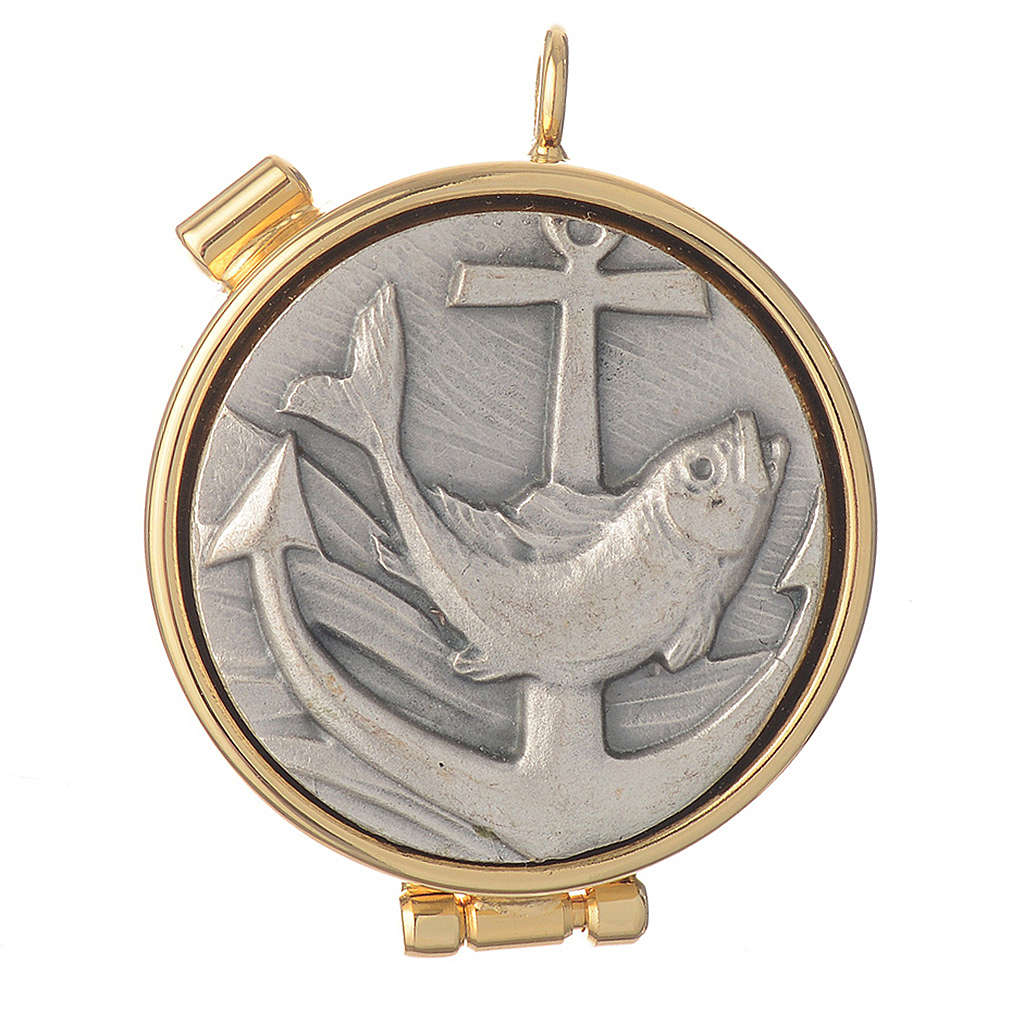 Mini pyx in enamelled brass with fish symbol 3