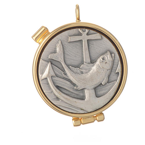 Mini pyx in enamelled brass with fish symbol 4